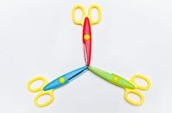 Τρία ψαλίδια χρωματισμένο Στοκ Εικόνες