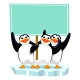 Τρία penguins που κρατούν το κενό σύστημα σηματοδότησης απεικόνιση αποθεμάτων