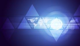 Τρίγωνα, παγκόσμιος χάρτης και κύκλοι πυράκτωσης Στοκ φωτογραφίες με δικαίωμα ελεύθερης χρήσης