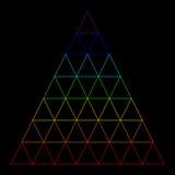 Τρίγωνο ουράνιων τόξων που αποτελείται από πολλά μικρά τρίγωνα Απεικόνιση αποθεμάτων
