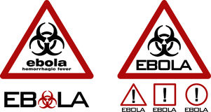 Τρίγωνο οδικής προειδοποίησης με το μαύρα σύμβολο biohazard και το κείμενο ebola Στοκ Εικόνα