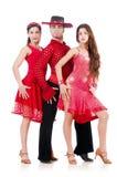 Τρίο των χορευτών που απομονώνονται Στοκ εικόνες με δικαίωμα ελεύθερης χρήσης
