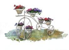 Τρίτροχο αναδρομικό ποδήλατο με τα δοχεία λουλουδιών στο σχέδιο τοπίων απεικόνιση αποθεμάτων