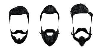 Τρίχα ατόμων και moustache προσδιορισμός Εκλεκτής ποιότητας κούρεμα κυρίων, γενειάδα ομορφιάς και διανυσματική απεικόνιση μορφών  ελεύθερη απεικόνιση δικαιώματος
