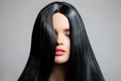 τρίχωμα Όμορφο κορίτσι brunette Υγιής μακρυμάλλης Στοκ Εικόνα