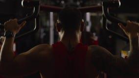 Τραίνα αθλητών αθλητικών τύπων bodybuilder στη γυμναστική Όμορφος μυϊκός αθλητής στη λέσχη ικανότητας, τοπ άποψη μαχητής απόθεμα βίντεο