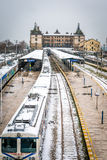 Τραίνα στο σταθμό τρένου Haydarpasa στη Ιστανμπούλ, Τουρκία Στοκ εικόνα με δικαίωμα ελεύθερης χρήσης