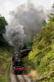 Τραίνο ατμού, κλίση με το λοφίο του καπνού Στοκ εικόνα με δικαίωμα ελεύθερης χρήσης