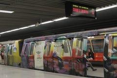 Τραίνο μετρό γκράφιτι Στοκ Φωτογραφίες