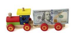 Τραίνο με τα χρήματα Στοκ Εικόνα