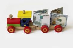 Τραίνο με τα χρήματα Στοκ Φωτογραφίες
