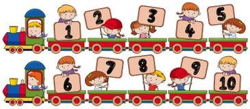 Τραίνο με τον αριθμό ένα έως οι Δέκα απεικόνιση αποθεμάτων