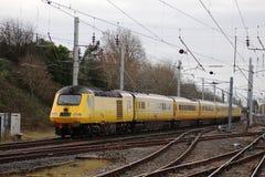 Τραίνο δοκιμής τραίνου υψηλής ταχύτητας (HST) ραγών δικτύων σε WCML σε Carnforth Στοκ Εικόνες