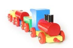 τραίνο παιχνιδιών ξύλινο Στοκ Εικόνες