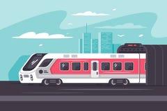 Τραίνο που ορμά από την πόλη με το μακροχρόνιο τρόπο Διανυσματική απεικόνιση
