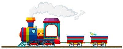 Τραίνο που οδηγά στη διαδρομή διανυσματική απεικόνιση