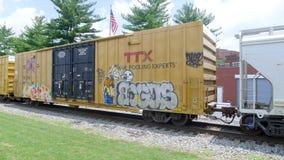 Τραίνο σιδηροδρόμου με τα γκράφιτι που κινούνται αργά Στοκ Εικόνα