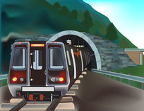 Τραίνο στην απεικόνιση σηράγγων Στοκ εικόνα με δικαίωμα ελεύθερης χρήσης