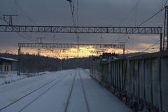 Τραίνο στη νύχτα Στοκ Εικόνες