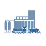 Τραίνο στις βιομηχανικές εγκαταστάσεις Στοκ Εικόνα