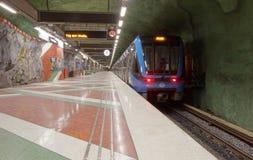 Τραίνο στον όμορφο σταθμό μετρό Kungstradgarden Στοκ εικόνα με δικαίωμα ελεύθερης χρήσης