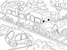 Τραίνο τραίνων κινούμενων σχεδίων και χρωματίζοντας βιβλίο αυτοκινήτων για τη διανυσματική απεικόνιση κινούμενων σχεδίων παιδιών ελεύθερη απεικόνιση δικαιώματος