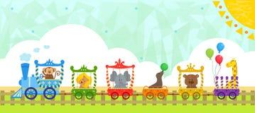 Τραίνο τσίρκων με το υπόβαθρο στοκ εικόνες