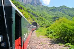 Τραίνο EL Chepe στο φαράγγι χαλκού, Μεξικό στοκ εικόνα με δικαίωμα ελεύθερης χρήσης