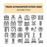 Τραίνων μεταφορών σημαδιών εικονοκυττάρου εικονίδια που τίθενται τέλεια στο ύφος περιλήψεων διανυσματική απεικόνιση