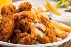 Τραγανά τραγανά φτερά κοτόπουλου με τα τσιπ Στοκ Εικόνα