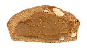 Τραγανή φέτα ψωμιού φυστικιών αμυγδάλων με το βούτυρο μπισκότων Στοκ εικόνες με δικαίωμα ελεύθερης χρήσης