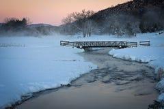 Τραγανό τοπίο σκηνής ανατολής χειμερινού πρωινού Στοκ Φωτογραφία