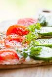 Τραγανό ψωμί σίκαλης, μαλακό τυρί και λαχανικά Στοκ φωτογραφία με δικαίωμα ελεύθερης χρήσης