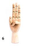 Τραγουδήστε του αριθμού έξι από το ξύλινο χέρι στοκ εικόνες με δικαίωμα ελεύθερης χρήσης