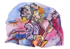 Τραγουδιστής της Jazz με την κιθάρα Απεικόνιση αποθεμάτων