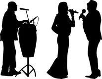 Τραγουδιστής δύο και τυμπανιστής διανυσματική απεικόνιση