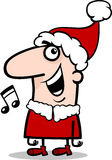 Τραγουδώντας απεικόνιση κινούμενων σχεδίων κάλαντων Santa Στοκ εικόνες με δικαίωμα ελεύθερης χρήσης