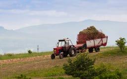 Τρακτέρ που μεταφέρει τη μαζευμένη χλόη στο αγρόκτημα στοκ φωτογραφίες με δικαίωμα ελεύθερης χρήσης