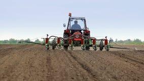 Τρακτέρ που σπέρνεται με τον καλλιεργητή καλαμποκιού απόθεμα βίντεο