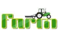 Τρακτέρ σε Logotype για το αγρόκτημα απεικόνιση αποθεμάτων