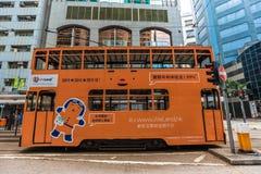 Τραμ διόροφων λεωφορείων στην οδό του Χονγκ Κονγκ Στοκ Εικόνες