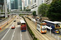 Τραμ διόροφων λεωφορείων στην οδό του HK Στοκ εικόνα με δικαίωμα ελεύθερης χρήσης
