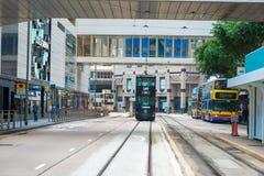 Τραμ διόροφων λεωφορείων Χονγκ Κονγκ σε κεντρικό Στοκ Φωτογραφίες