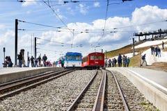 Τραμ καλωδίων Rigi bahn ηλεκτρικό σε Rigi kulm Luzern Ελβετία, Στοκ Εικόνες