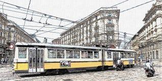 Τραμ κατά μήκος της διαδρομής σιδηροδρόμων στο Μιλάνο κεντρικός, Ιταλία ελεύθερη απεικόνιση δικαιώματος