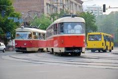 Τραμ σε Kyiv, Ουκρανία Στοκ Εικόνα