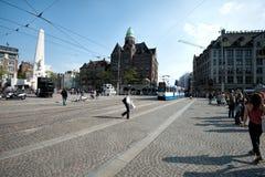 Τραμ στο τετράγωνο φραγμάτων Στοκ Εικόνες