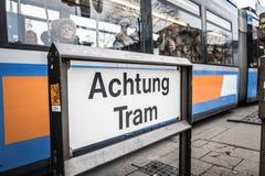 Τραμ Achtung στοκ εικόνες με δικαίωμα ελεύθερης χρήσης