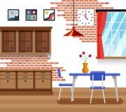 Τραπεζαρία με τα έπιπλα στο επίπεδο διανυσματικό ύφος ελεύθερη απεικόνιση δικαιώματος