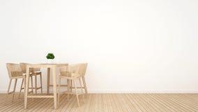 Τραπεζαρία στο ξύλινο σχέδιο - τρισδιάστατη απόδοση Στοκ Φωτογραφία